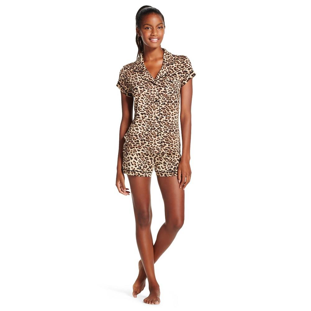Women's 2pc Short Sleeve Pajama Sets White/Black L, Milkshake/Black