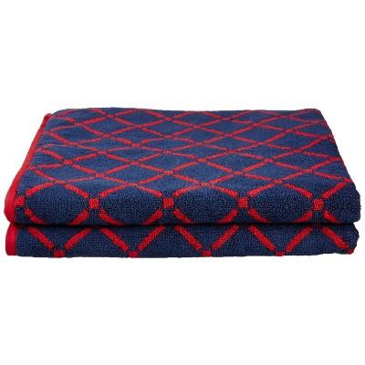 "Plush and Absorbent Cotton Oversized 2-Piece Geometric Diamond 34"" x 68"" Bath Sheet Set - Blue Nile Mills"