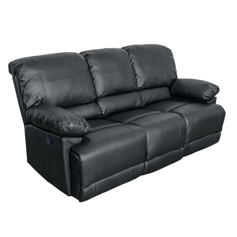 Leather Power Reclining Sofa with Usb Port Black - CorLiving