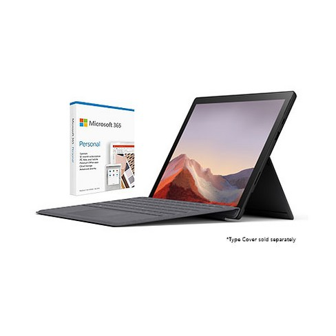 """Microsoft Surface Pro 7 12.3"""" Intel Core i7 16GB RAM 256GB SSD Matte Black + Microsoft 365 Personal 1 Year Subscription For 1 User - image 1 of 4"""