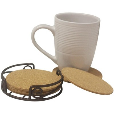 Home Basics Natural Cork 6 Piece Coaster Set with Scroll Collection Steel Holder