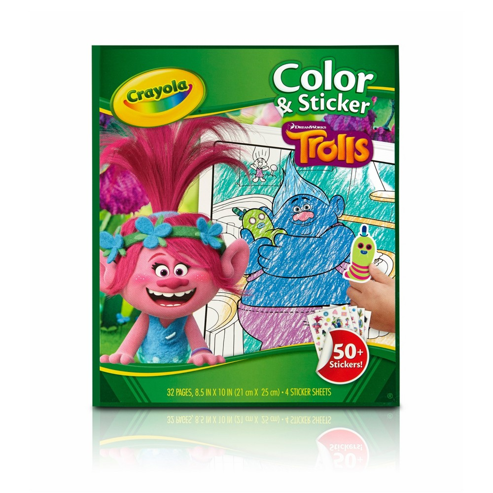 Image of Crayola 32pg Color & Sticker Trolls Coloring Book