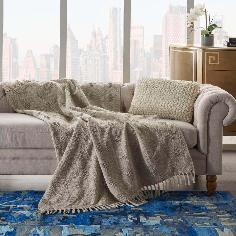 Image of Knit Diamond Throw Blanket Natural - Nourison