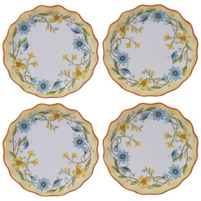 6  4pk Earthenware Torino Canape Plates White - Certified International