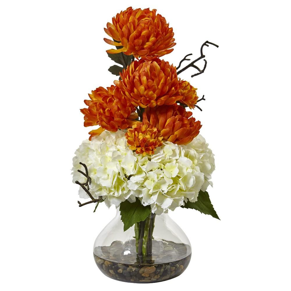 Image of Hydrangea & Mum in Vase Orange - Nearly Natural, Pumpkin