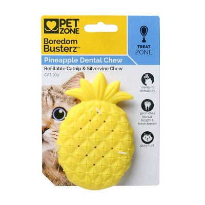 Pet Zone Boredom Busters Pineapple Dental Chew Cat Toy - Yellow