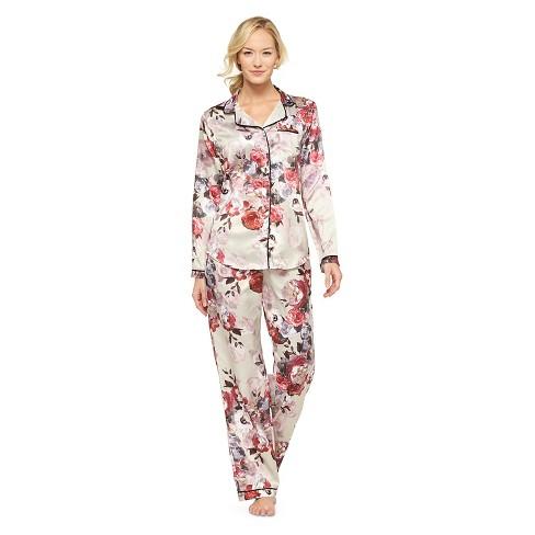 ad9070900792 Women s Satin Pajama Set - Gilligan   O Malley™ Beige Floral XS   Target
