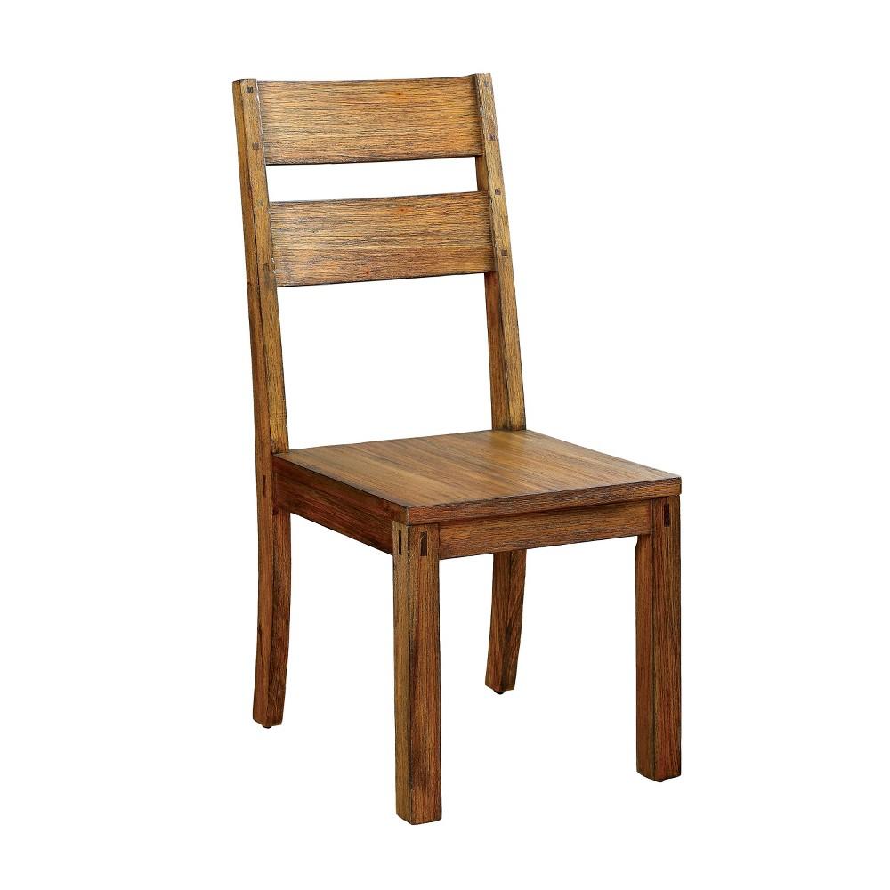 Sun & Pine Sturdy Panel Back Side Chair Wood/Dark Oak (Set of 2)