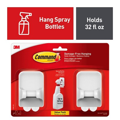 Command 2 Hangers/4 Strips per pk Spray Bottle Hangers White