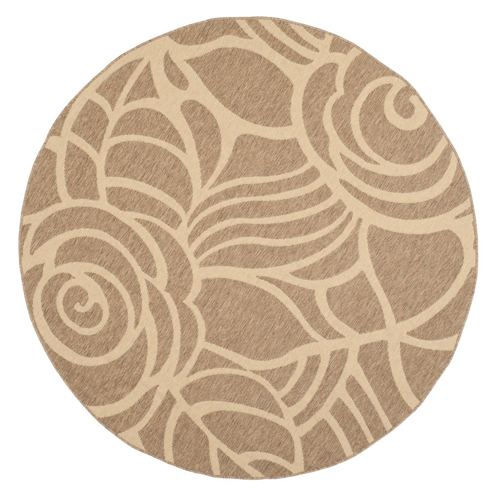 7'10 Round Madeline Outdoor Rug Coffee/Sand - Safavieh, Brown White