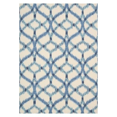 Waverly Ikat Lattice Indoor/Outdoor Rug - Blue (5'x7')