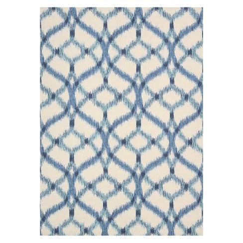 Waverly Ikat Lattice Indoor Outdoor Rug Blue 10 Target