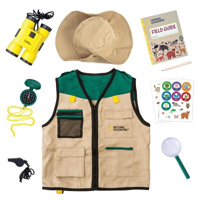 NATIONAL GEOGRAPHIC Backyard Safari Costume and Outdoor Explorer Set for Kids, Includes Safari Vest, Hat, Binoculars, Magnifying Glass, Journal & Stickers