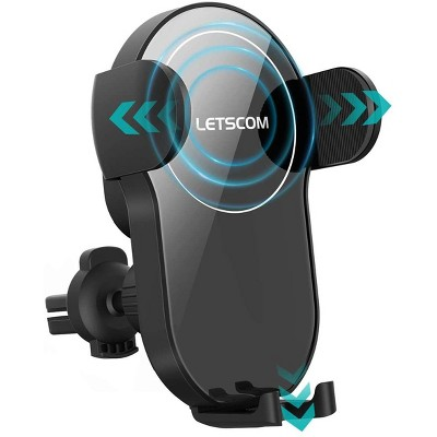 LETSCOM Wireless Car Charger,15W Qi Fast Charging Car Charger Mount Auto-Clamping Air Vent Phone Holder Compatible with iPhone 1212 Pro1111 ProPro MaxXSXRX88+, Samsung etc - One X - Black