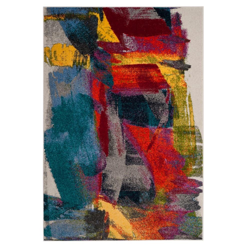 Light Gray/Red Splatter Loomed Accent Rug 3'X5' - Safavieh, Light Graynred