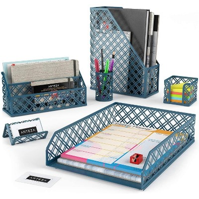 Arteza Desk Organizer, Dark Green, for Office, Home, Classroom, or Back to School - 6 Piece Set (ARTZ-8945)