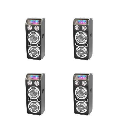 Pyle PSUFM1035A Disco Jam 1000 Watt 2 Way DJ Bluetooth Karaoke Party Speaker with 3 Color Changing Flashing LED Disco Lights (4 Pack)