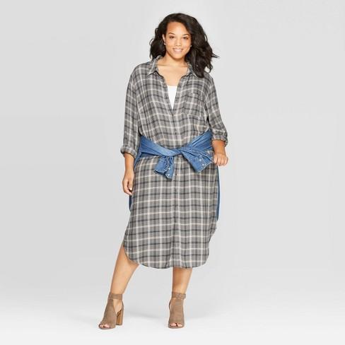 Women\'s Plus Size Plaid Midi T-Shirt Dress - Universal Thread™ Blue