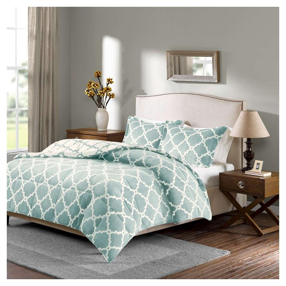 Alston Reversible Plush Comforter Set King Aqua 3pc