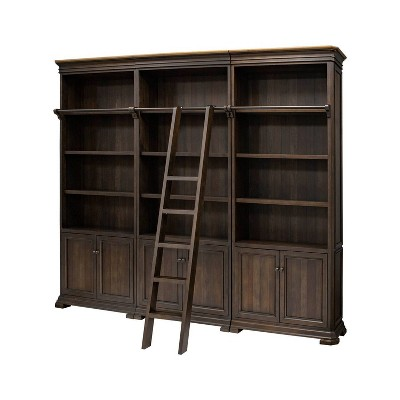 """94"""" Sonoma Bookcase Wall with Wood Ladder Brown - Martin Furniture"""