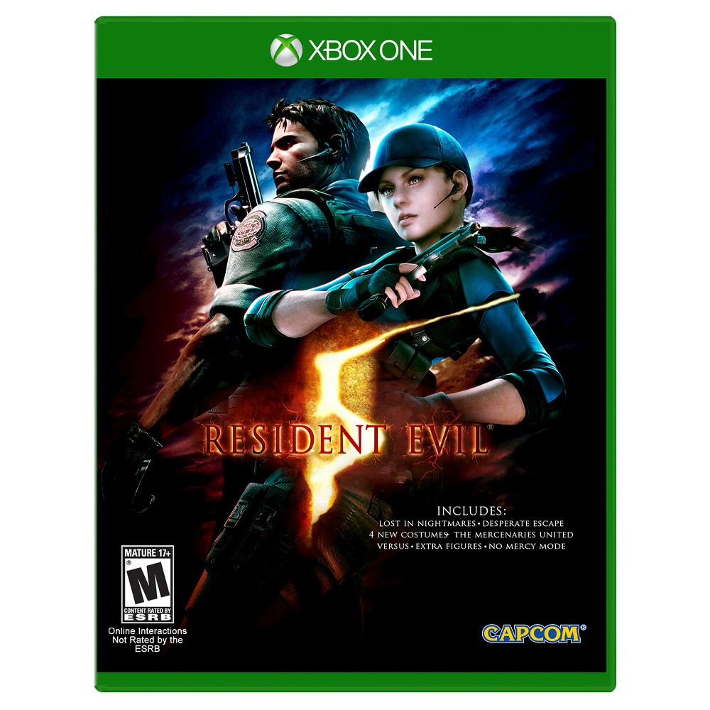 Resident Evil 5 Xbox One, Video Games Become an agent of change in the actionpacked Resident Evil 5 (Xbox One) - Campcom. The game works for Xbox One consoles. The roleplaying video game is recommended for ages 17 and up.