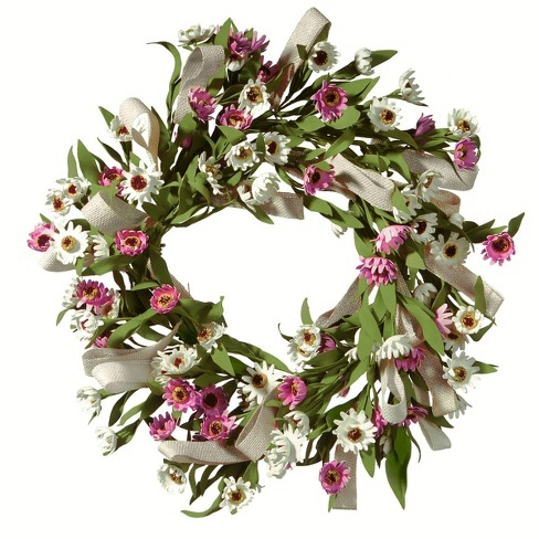 """Artificial Small Sunflower Wreath Pink 22"""" - National Tree Company® - image 1 of 1"""