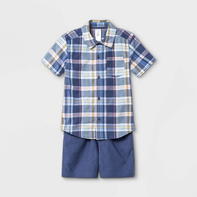 Toddler Boys' 2pc Plaid Woven Short Sleeve Shirt and Shorts Set - Just One You® made by carter's Blue