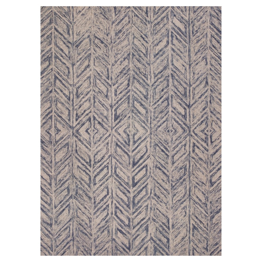 Blue Geometric Tufted Accent Rug - (2'3
