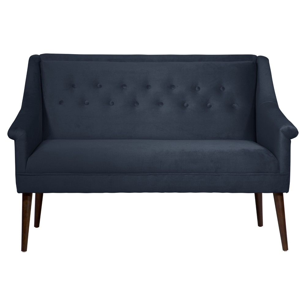 Button Tufted Settee in Mystere Eclipse - Skyline Furniture
