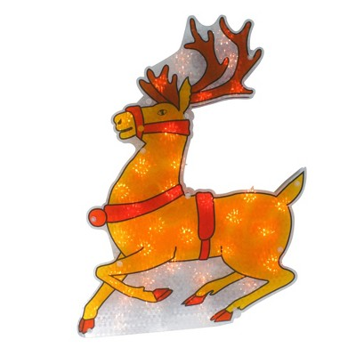 "Northlight 18"" Lighted Yellow and Red Holographic Shimmering Reindeer Christmas Window Silhouette Decoration"
