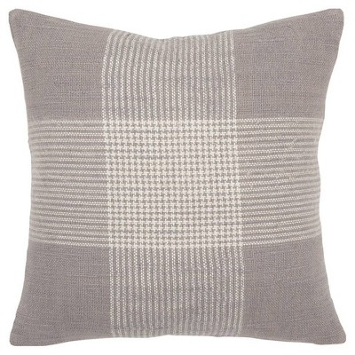 Plaid Poly Filled Square Pillow Gray - Rizzy Home