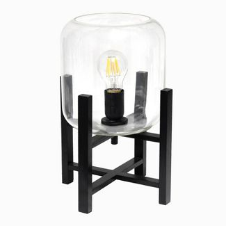 Wood Mounted Table Lamp with Glass Cylinder Shade Black - Simple Designs