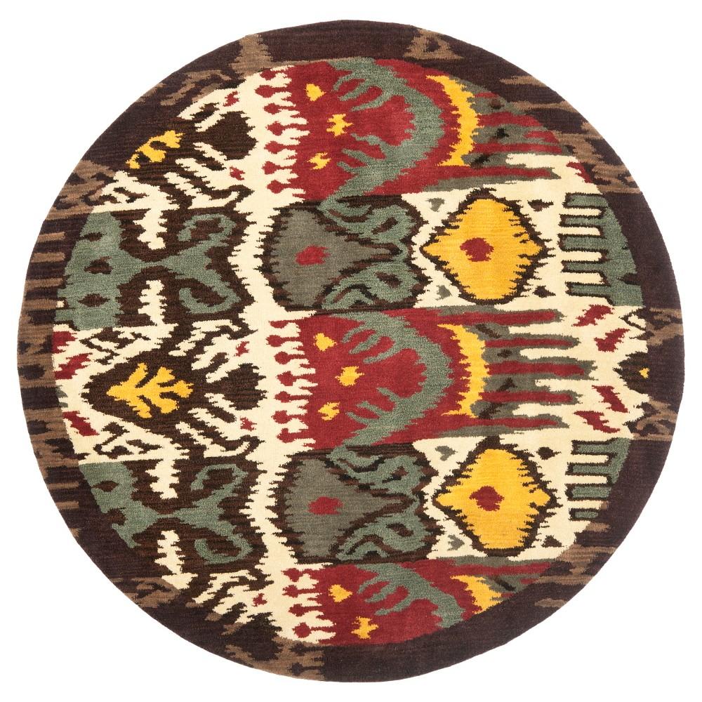 Creme/Brown Tribal Tufted Round Area Rug - (6' Round) - Safavieh, Beige