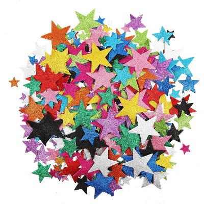 300pcs Colorful Glitter Foam Stickers, Self Adhesive Star Shape Glitter Stickers for Kids Art and Crafts in 12 Colors