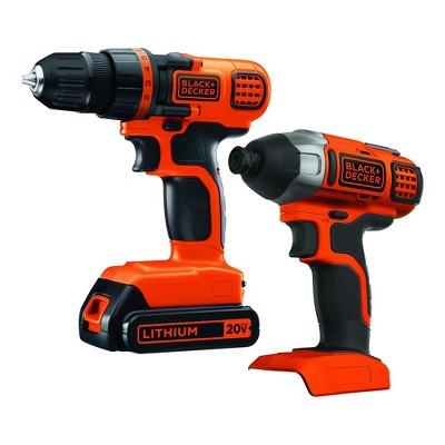 Black & Decker BD2KITCDDI 20V MAX Brushed Lithium-Ion 3/8 in. Cordless Drill Driver / 1/4 in. Impact Driver Combo Kit (1.5 Ah)