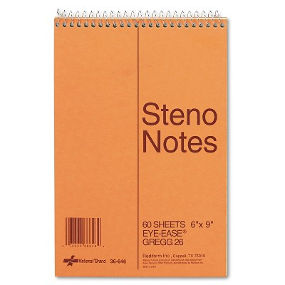National Standard Spiral Steno Book Gregg Rule 6 x 9 Green 60 Sheets 36646
