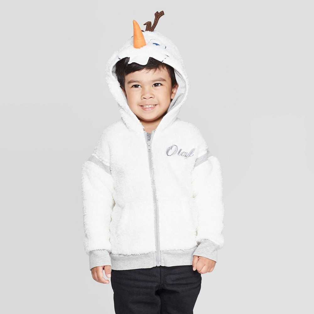 Image of Toddler Boys' Frozen Olaf Cosplay Hoodie - Ivory 2T, Boy's, Gray