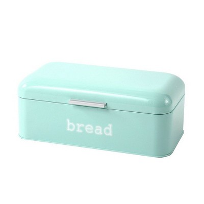 """Juvale Bread Box for Kitchen Counter - Stainless Steel Large Bread Bin Storage Container Holder - Retro Vintage Design, Turquoise, 16.75x9x6.5"""""""