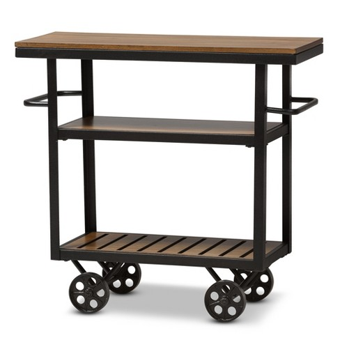 Kennedy Rustic Industrial Style Antique Textured Finished Metal and Distressed Wood Mobile Serving Cart - Brown, Black - Baxton Studio - image 1 of 6