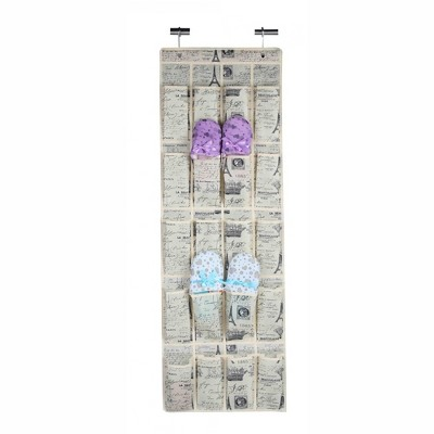 Home Basics Paris Collection Over the Door 20 Pocket Shoe Organizer, Natural