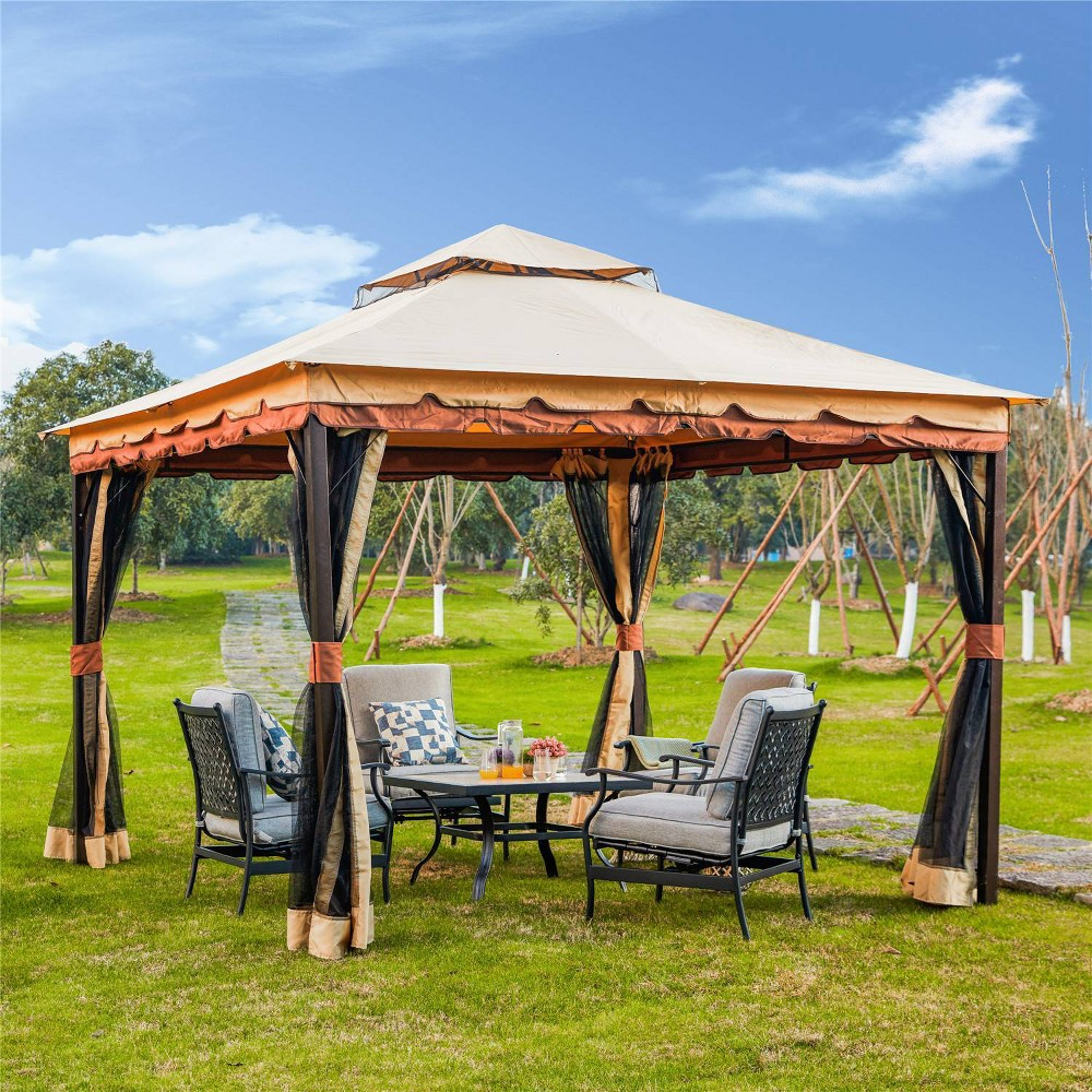 Transform your backyard, patio, or pool area into an inviting and stylish area to spend your time outdoor. The large polyester canopy provides ample shade for you to take a break during the hot summer months. The canopy also helps to keep your patio furniture looking like new by keeping harmful UV rays, rain, and small debris like falling leaves off of your furnituret. Mesh screens add a touch of style and sophistication to the whole unit and help keep bugs, sunshine out or make the conversation truly private.. Gender: unisex.