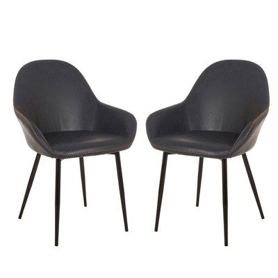 Set of 2 Mid Century Modern Vintage Leatherette Dining Armchair Navy Blue - Glitzhome