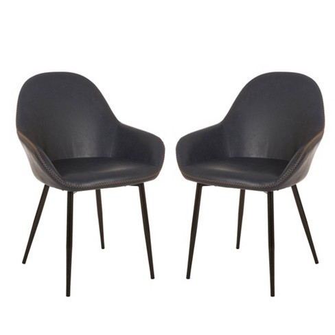 Set of 2 Mid Century Modern Vintage Leatherette Dining Armchair Navy Blue - Glitzhome - image 1 of 7