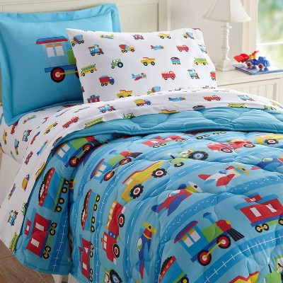 5pc Twin Train with Planes and Trucks Microfiber Bed in a Bag - WildKin