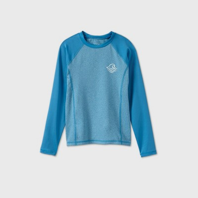Boys' Long Sleeve Raglan Rash Guard Swim Shirt - art class™ Heather Blue