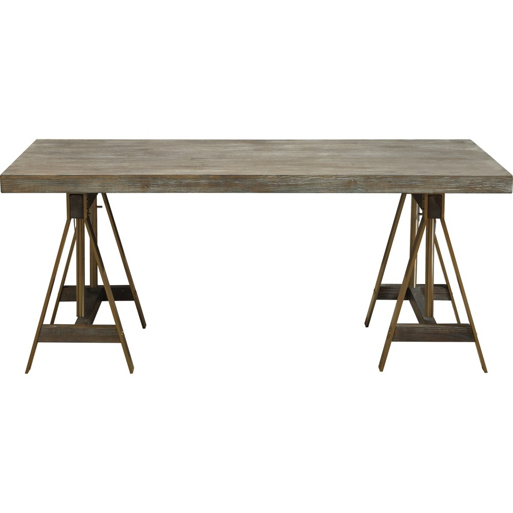 Biscayne Modern Adjustable Dining Table/Desk Weathered Gray - Treasure Trove