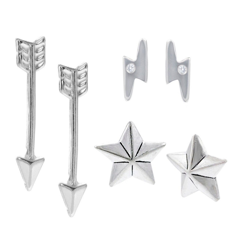 0.02 CT. T.W. Round-cut CZ Bezel Set Stud Earrings Set in Sterling Silver - Silver, Girl's