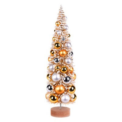 """Vickerman 18"""" Vintage Tabletop Frosted Gold Artificial Christmas Tree, Gold, Silver Ornament"""