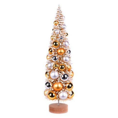 """Vickerman 18"""" Vintage Tabletop Frosted Gold Artificial Christmas Tree, Gold, Silver Ornament - image 1 of 1"""