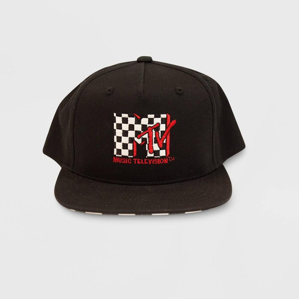 Mtv Emblem & Checkered Brimmed Hat, Kids Unisex, Black